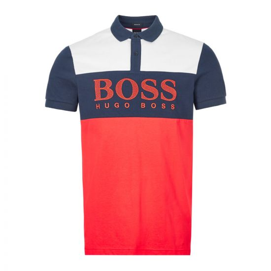 boss athleisure polo shirt pavel | 50424764 620 red navy
