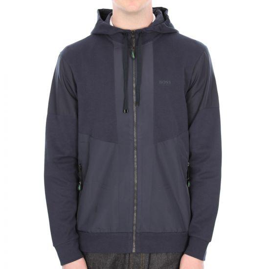 Hugo Boss Green Skanni Hooded Sweatshirt in Navy