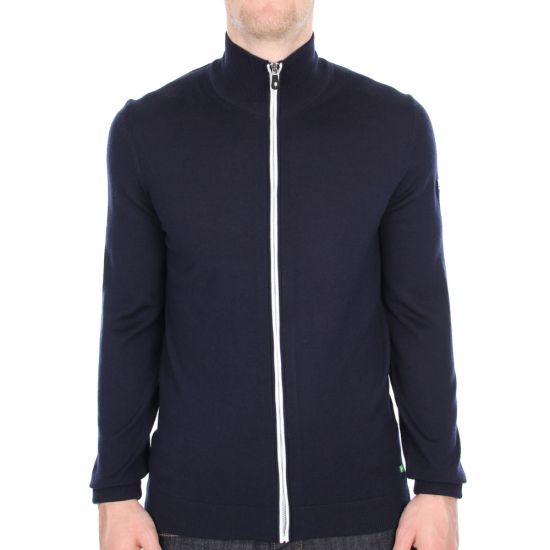 Hugo Boss Green Navy Zeen Cardigan