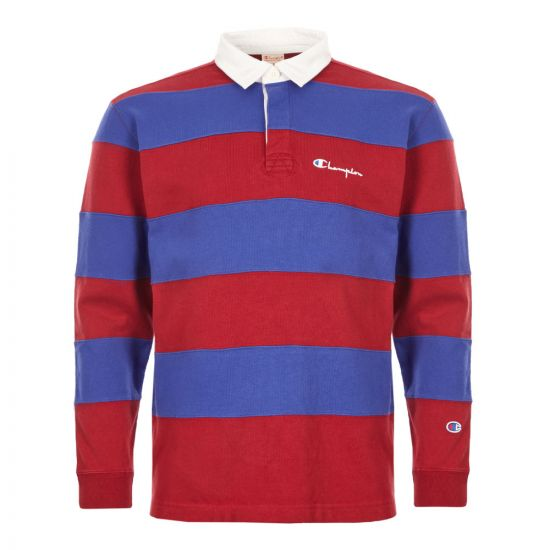 Champion Rugby Shirt   213661 RS517 RDD Red And Blue   Aphrodite Clothing