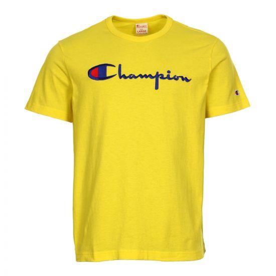 Champion T Shirt Script Logo 210972 YS010 BTY Yellow