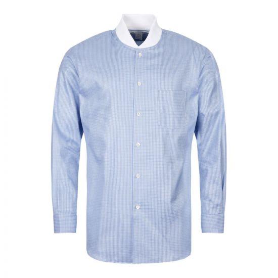 Comme des Garcons SHIRT Check Shirt Ribbed Collar W27075 2 Blue