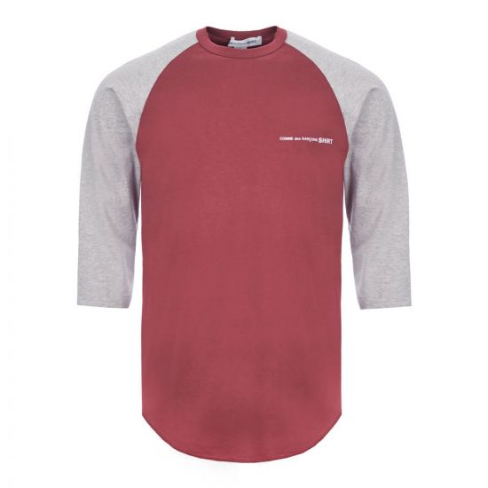 Comme des Garcons SHIRT 3/4 Sleeve T-Shirt - Grey / Burgundy 21731CP -7