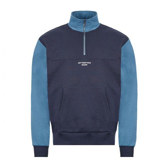 Drôle de Monsieur Half Zip Sweatshirt - Navy  21826CP -1