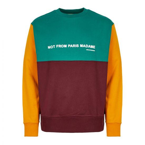 Drôle de Monsieur Sweatshirt FW19 NAGOYA MULTI Burgundy / Green / Yellow
