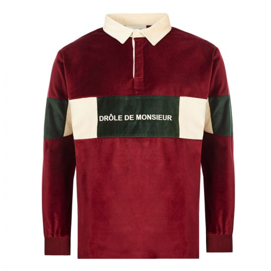 Drole De Monsieur Polo Shirt Velvet Paneled FW19|MEMPHIS|BY In Burgundy At Aphrodite Clothing