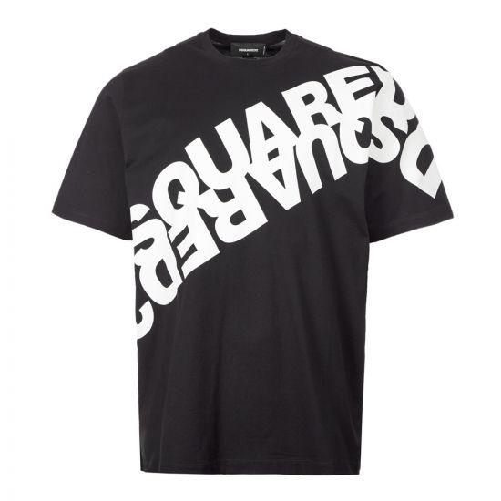 DSquared T-Shirt Diagonal Logo - Black 21198CP -1