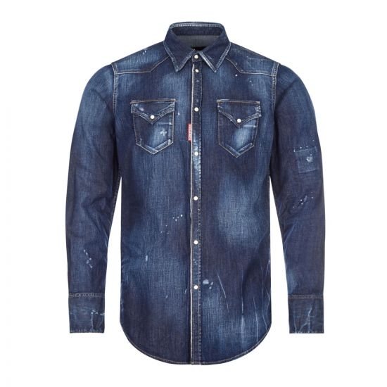 DSquared Denim Shirt Distressed | S74DM0453 471 Blue| Aphrodite