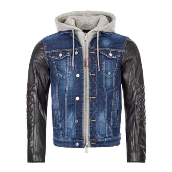 DSquared Hooded Denim Jacket - Blue / Grey / Black 21389CP -1