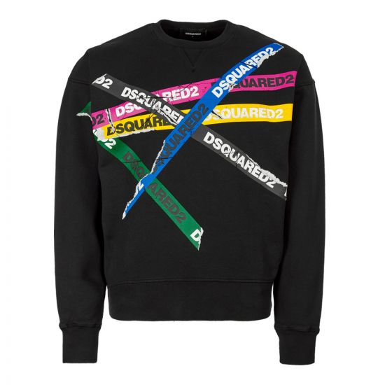 DSquared Sweatshirt S74GU0337 S25030 900 In Black  Tape Logo