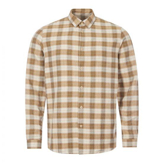 folk shirt storm FM5429S tan linear check