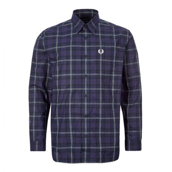 fred perry tartan shirt M7609 126 medieval blue