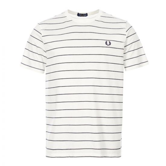 Fred Perry Stripe Tee | Snow White M8532 129 | Aphrodite