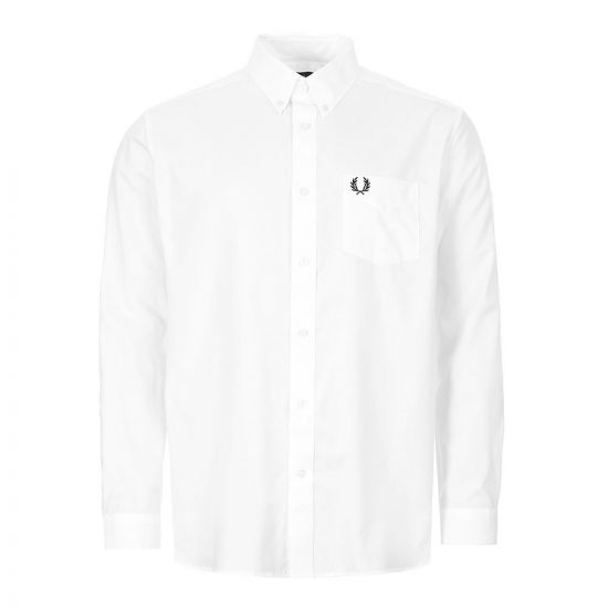 fred perry long sleeve shirt button down   M8501 WHT white
