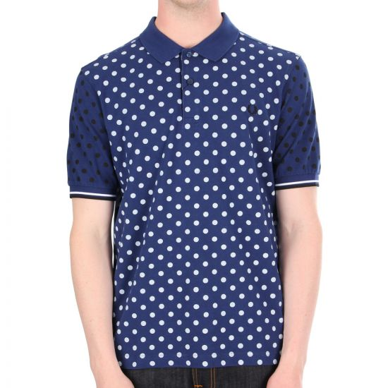 fred perry polka dot pique polo shirt in medieval blue