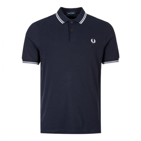 fred perry polo slim fit twin tipped navy m3600 238