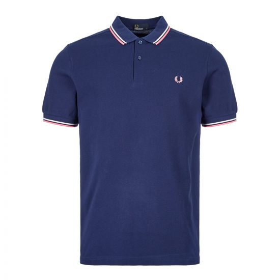 Fred Perry Polo Shirt Twin Tip M3600 I12 Navy / Pink / White
