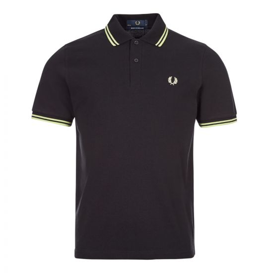 fred perry polo shirt twin tipped M12 K35 black / acid lime