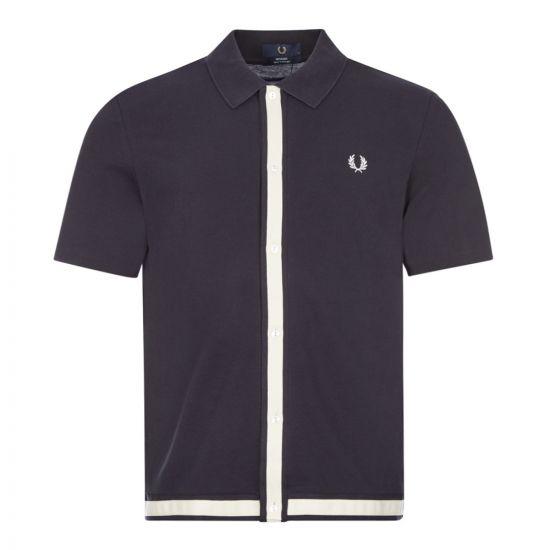fred perry polo shirt button through M9805 608 navy