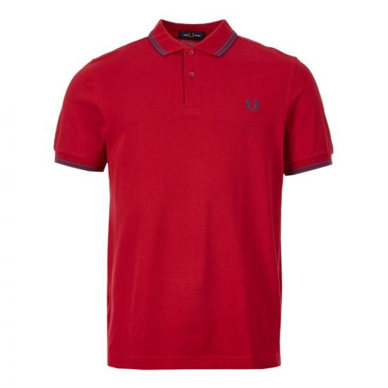 Fred Perry Twin Tipped Polo Shirt | M3600 J25 Red / Navy
