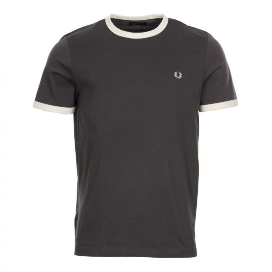 Fred Perry Ringer T-Shirt   Charcoal M3519-491