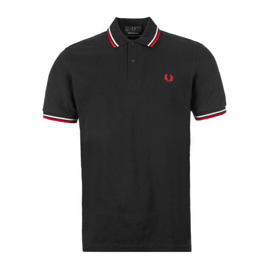 Fred Perry Twin Tipped Polo M12 186 Black / White / Bright Red