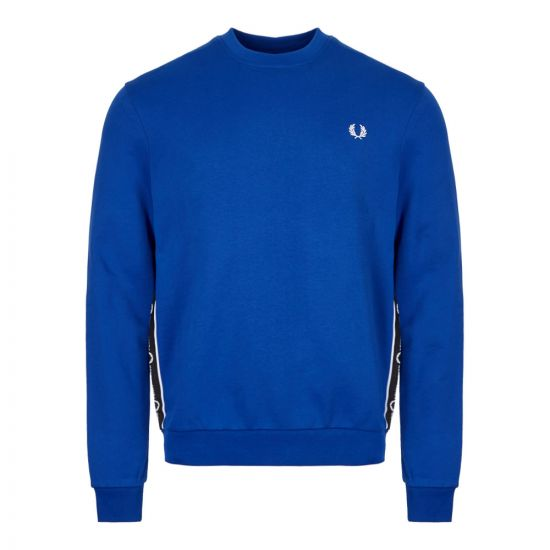 Fred Perry Taped Sweatshirt M7537|I88 In Regal Blue At Aphrodite Clothing