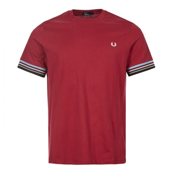 Fred Perry T-Shirt M6528 106 In Maroon Stripe