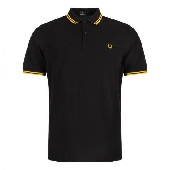 fred perry polo black slim fit twin tipped m3600 506