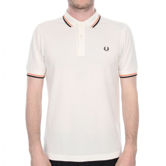 Fred Perry Twin Tipped Polo Shirt in Off White