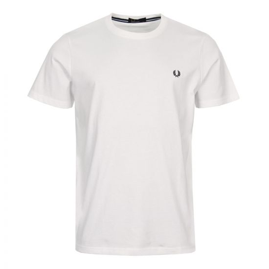 Fred Perry Tee White M6334 100 Crew Neck
