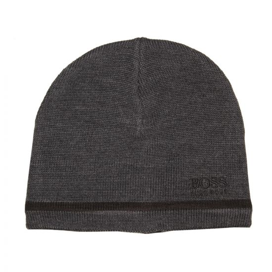 Hugo Boss Green Fleece Lined Beanie in Dark Grey