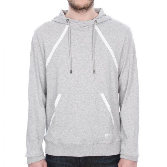 Hugo Boss Black Cotton Hooded Sweatshirt in Light Grey