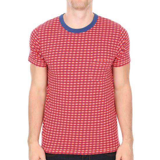 Levi's Vintage 1960s Striped Tee in Red Jacquard