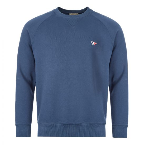 Maison Kitsune Sweatshirt Fox Patch | DM00313K M0002 PT Petrol Blue