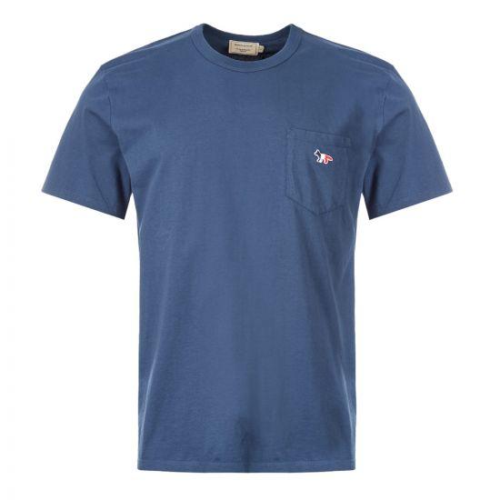 Maison Kitsune T-Shirt Fox Patch   DM00125K J0008 PT Petrol Blue