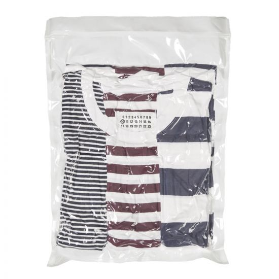 maison margiela three pack t-shirts S50GC0552 S23488 961 navy / white / red stripe