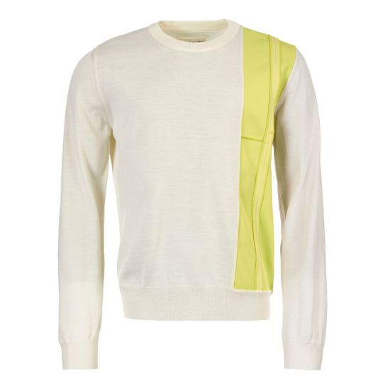 maison margiela jumper S50HA0867 S16609 001F white/lime