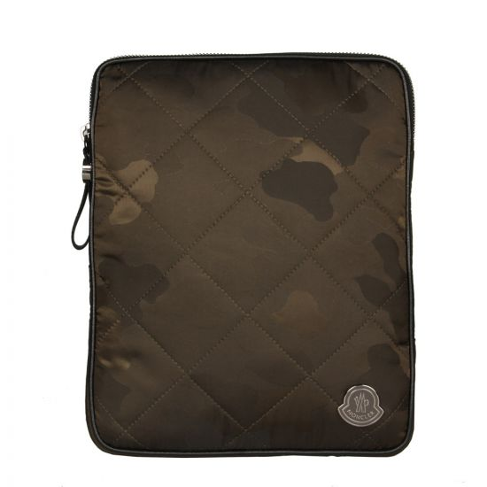 Moncler Quilted Tablet Case in Camo Olive.
