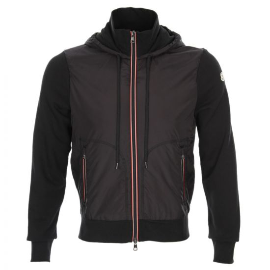 Moncler Zipped Hooded Top in Black