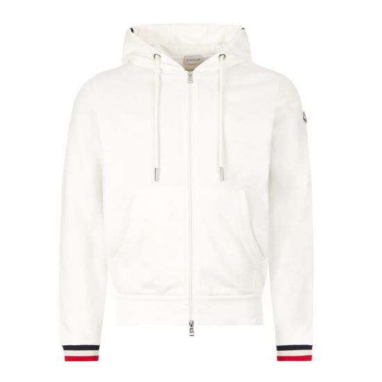 Moncler Zipped Hoodie 8G742|00|V8007|034 In White At Aphrodite Clothing