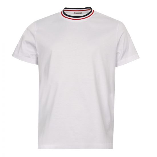 Moncler T Shirt Knit Collar 80283 00 8390Y 001 in White