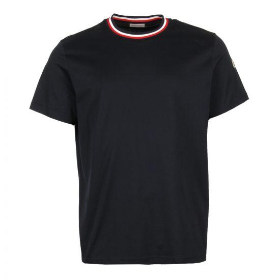 Moncler Ribbed Collar T-Shirt 80283 00 8390Y 773 Navy
