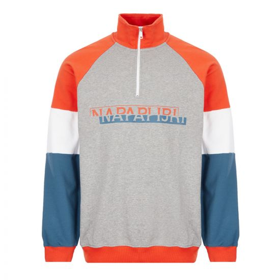 Napapijri Sweatshirt Half Zip - Grey / Orange 22182CP -1