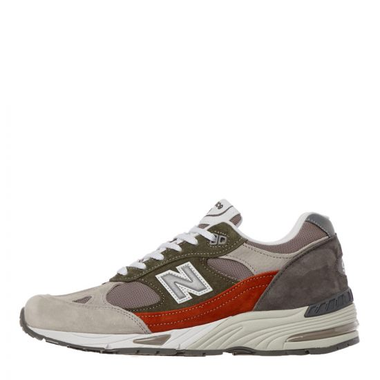 New Balance 991 Trainers - Grey / Orange / Green 21504CP -1