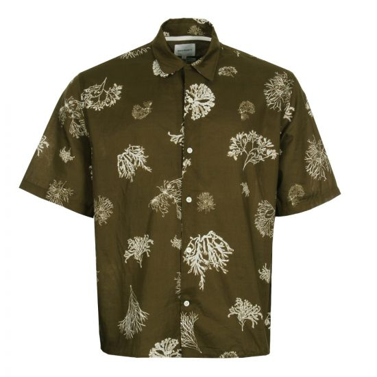 Norse Projects Shirt Carsten Print in Kelp Green N40 0451 8105