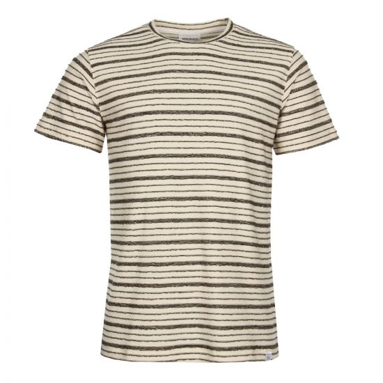 Norse Projects Niels Textured Stripe T-Shirt N01-0390-8105 In Kelp Green/Ecru
