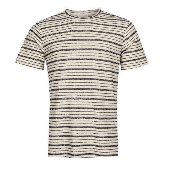 Norse Projects Niels T Shirt Textured Stripe N01-0390-7004 Navy/Ecru