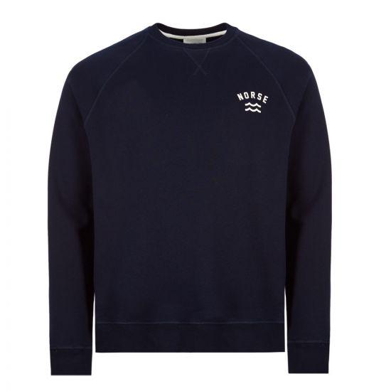 Norse Projects Sweatshirt Ketel Ivy Wave Logo  N20 0269 7004 Navy