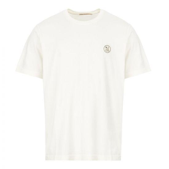 nudie jeans t-shirt logo 131680 W41 dusty white